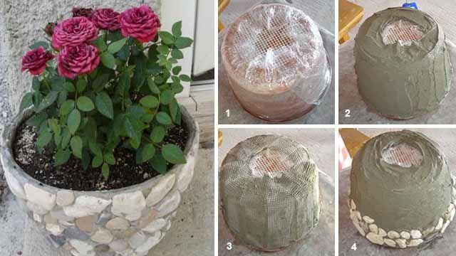 цветочные горшки из бетона